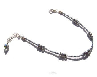 Hematite Grey Pearl Beaded Ankle Bracelet 8.5