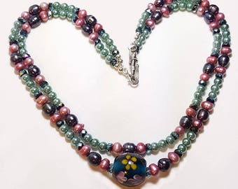 Freshwater Pearl and Art Glass Double Strand Necklace