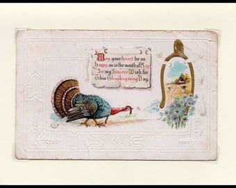 Heart Be Happy Thanksgiving Vintage Greeting Card
