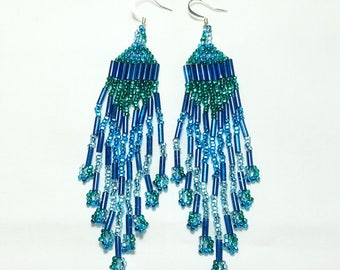 Teal Blue and Green Dangle Beaded Earrings