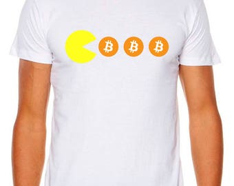 Bitcoin Pacman Cryptocurrency Bitcoins As Colour Funny Tshirt
