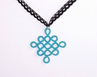 Lace turquoise checkerboard diamond pendant necklace