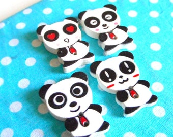 4 x different panda Animal buttons