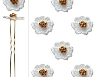 6 Golden grains and white lace flower hair pins