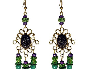 Bronze wood ethnic long dangling women black purple green stone earrings