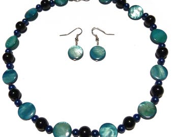 Dark blue and light blue beads and classic pearl earrings and set women necklace