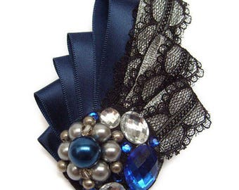 Satin lace brooch blue silver black Crystal beads