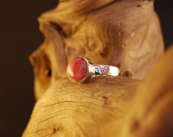 "Original rhodocrosite and craft ""amanecer"" silver ring"