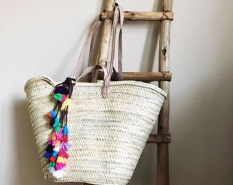 Double handled French Market Basket Tote Beach Bag with Tassel