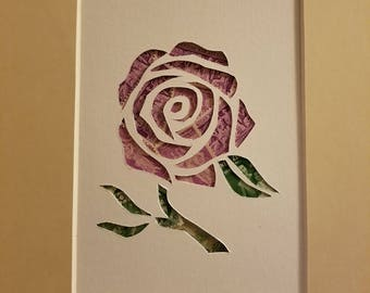 Postage Stamp Collage - Purple Rose