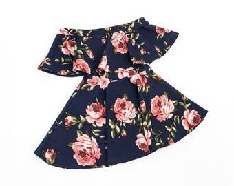 Blue Floral Off The Shoulder Dress
