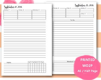 PRINTED Weekly Planner, 2018, Plus month views, Dated, WO2P, Weekly Planner Inserts, Weekly Planner Pages, A5, Half Page, Filofax, Kikki