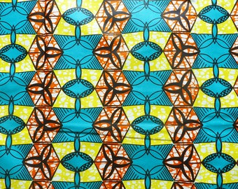 African wax fabric * Emerald, yellow & orange geometric pattern * 0.50 m