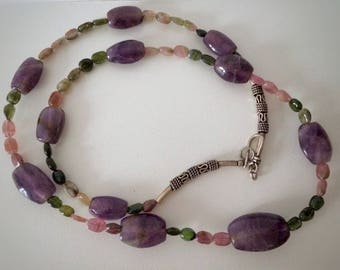 Amethyst Tourmaline 925 sterling silver necklace