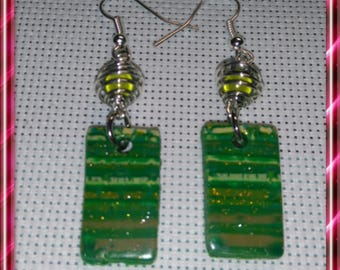 Pair of green tone polymer clay, Silver earrings