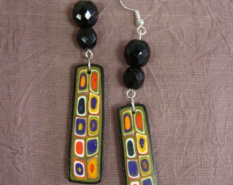 Long earrings in honor of Klimt adorned with two glass beads black