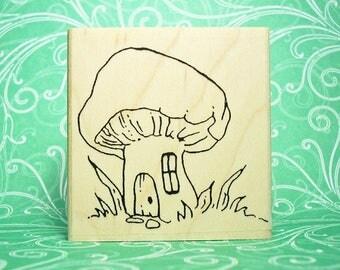 Faerie Folk Mushroom Cottage 713 Rubber Stamp Fantasy Storybook Characters
