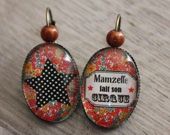 """Earrings cabochon """"Mademoiselle made his circus"""" vintage glass sleepers bronze romantic gift girl teen retro"""