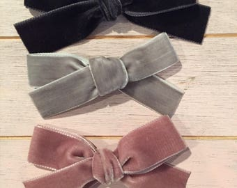 """VELVET BOW SET. Black, mauve or dusty rose & grey / gray. Medium sized 7/8-1"""" wide hand tied bows for babies, toddlers and little girls"""