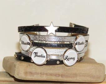 Cuff Bracelet personalized with 4 names of your choice, leather, black, white and silver