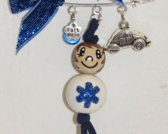 "brooch-bag charm - paramedic - wooden beads ""smile ball"" figurine entirely hand painted"