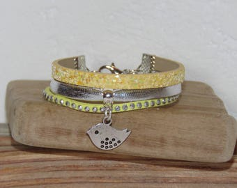 Girl, yellow, silver Cuff Bracelet, leather, glitter, studded Suede, bird charm