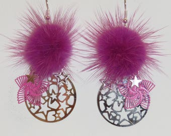 Pompom fur, fuchsia, prints, stars earrings earrings, earrings dangle earrings