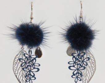 Pompom earrings, leaf earrings, flowers, prints, Navy Blue earrings, lightweight earrings