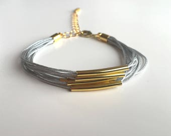 Gray and gold MULTISTRAND bracelet