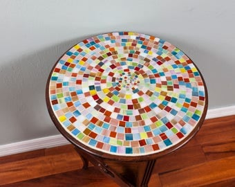 Mosaic stained glass side table.