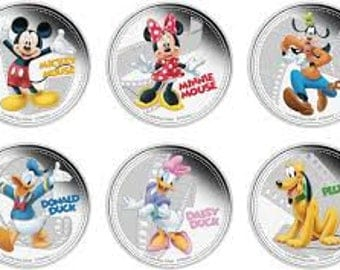Disney Characters set of 6 coins