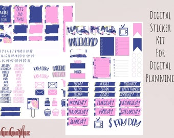 Digital Planner Sticker Kit for Goodnotes | Navy and Pink Abstract Pattern | Pad Digital Weekly Sticker Set | Digital Journal Stickers