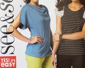 Butterick See & Sew Pattern B5838, Misses Tops, Size XS-XXL, OOP