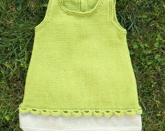 6 months: knitted dress cotton anise green, with fancy buttons