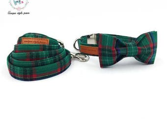 Green Holiday Plaid - Dog Collar Bow Tie and Matching Leash Set