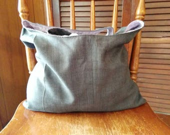 Handmade reversible purse made from recycled material