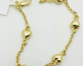 """14k Yellow Gold Heart Rolo Link Chain Bracelet 6"""" Child Baby/baby shower/birthday gift/personalized"""