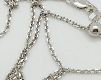 "925 Solid Sterling Silver Italian Adjustable Cable Chain Necklace 22"" 1.5mm Italy"