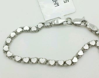 """14k Solid White Gold Heart Link Bracelet Chain 5.5"""" 2.9mm Baby Girl Child/baby shower/birthday gift/personalized"""