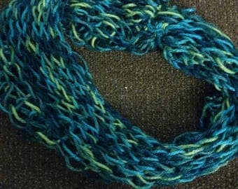 Blue and greens one time wrap infinity scarf