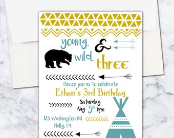 Young, Wild, and Three Birthday Invitation, Boy, Third Birthday, 5x7, Digital Download