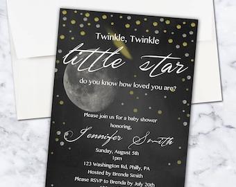 Twinkle Twinkle Little Star Baby Shower Invite, 5x7, Gender Neutral, Digital Download
