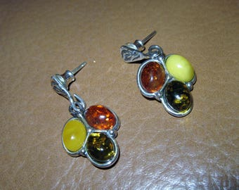 925 silver 3 colour amber earrings