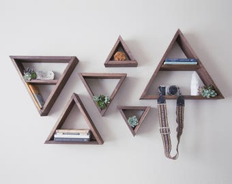 Triangular Wall Shelves, SET OF 6 Triangle Shelves, Triangle Wall Art, Triangle Wall Unit, Floating Triangle Shelf, Geometric Shelves