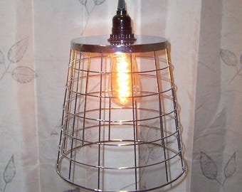 Wire Basket Hanging Swag Pendant Farmhouse Light Silver Tone