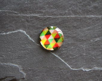 Harlequin 25 mm multi color glass cabochon