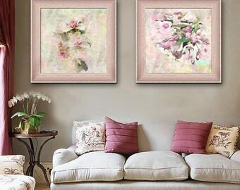 Peach Watercolour Flowers