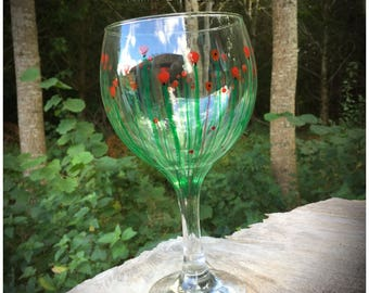 Large Gin Glass. Unique 'Poppy Fields' hand painted and dishwasher safe beautiful Copa Glasses. 645ml
