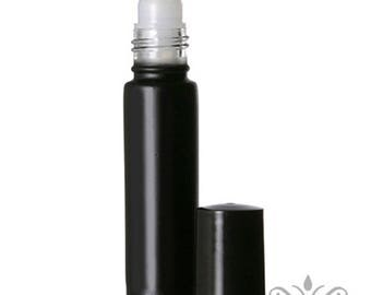 6 BLACK 10 ml-1/3 oz Glass ROLL ON Bottles/Matching Caps. Perfume essential aromatherapy fragrance beauty cosmetic vial worldwide shipping