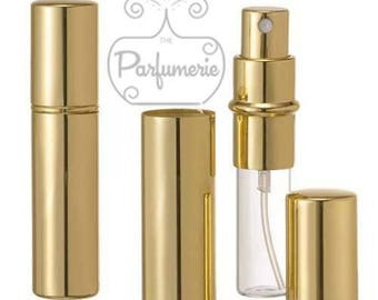 Set of 2: 12 ml. Gold SHINY METALLIC Sleek Spray Atomizer Perfume Cologne Refillable Travel Size Wholesale Bottle Empty